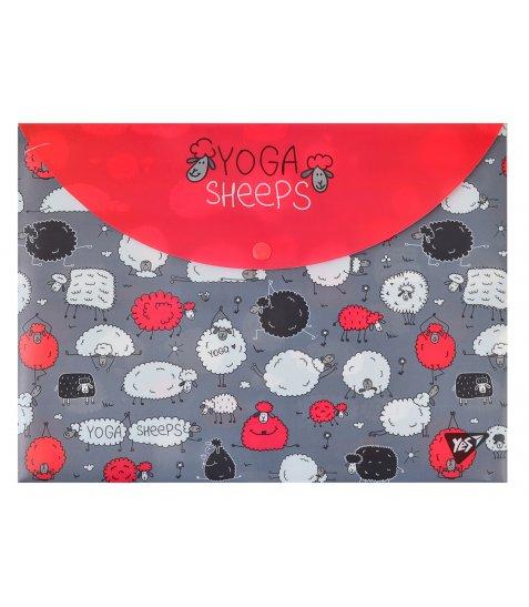 """Папка-конверт YES на кнопці А4 """"Yoga sheeps"""""""