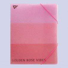 """Папка-органайзер YES на резинке А4 """"Rose Gold"""", 4 отд, фольга"""