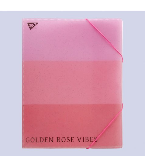 """Папка-органайзер YES на гумці А4 """"Rose Gold"""", 4 від., фольга"""