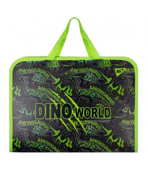 "Папка-портфель YES на блискавці з тканинними ручками ""Dino"""