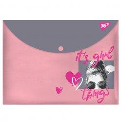 "Папка-конверт YES на кнопці А4  ""Girlish"""