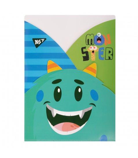 """Папка - куток YES A4 """"Monsters"""", 3 фігурні відділення - фото 1 з 1"""