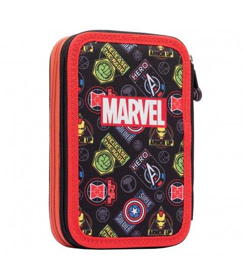 """Пенал твердий YES подвійний HP-01  """"Marvel.Avengers"""", чорний"""