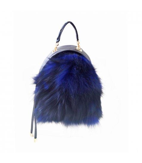 Сумка-рюкзак  YES, синій, з хутром