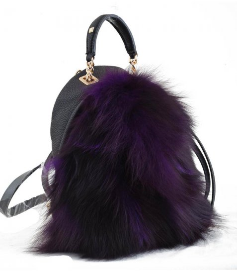 Сумка-рюкзак  YES, фіолетова, з хутром
