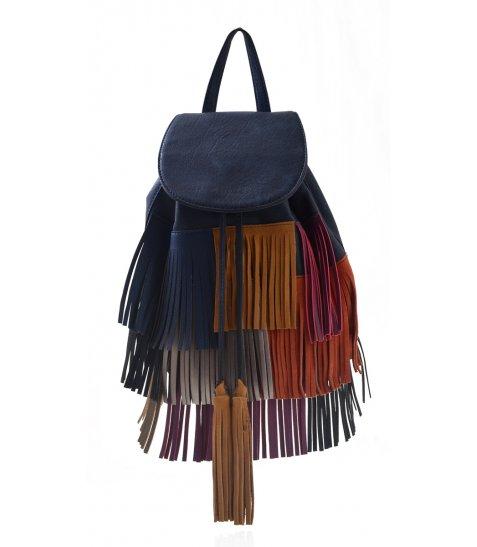 Сумка-рюкзак  YES, синій з бахромою, 25*21.5*21