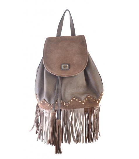 Сумка-рюкзак  YES, коричневий з бахромою, 25*21.5*21 - фото 4 з 5