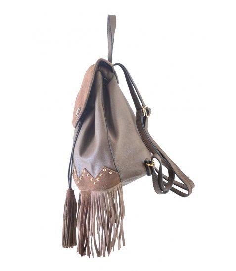 Сумка-рюкзак  YES, коричневий з бахромою, 25*21.5*21 - фото 5 з 5