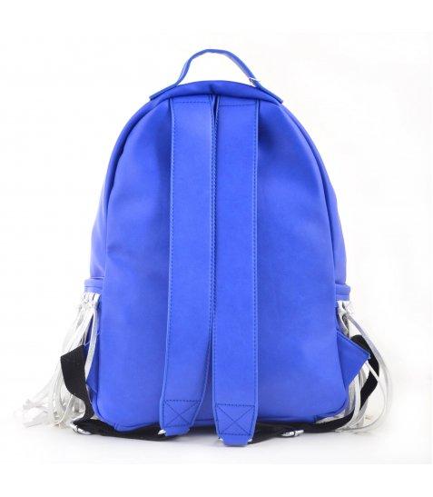 Сумка-рюкзак  YES, синій з бахромою, 36*26*11