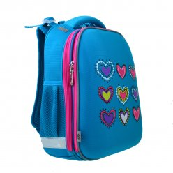Рюкзак шкільний каркасний  YES  H-12-1 Hearts turquoise, 38*29*15