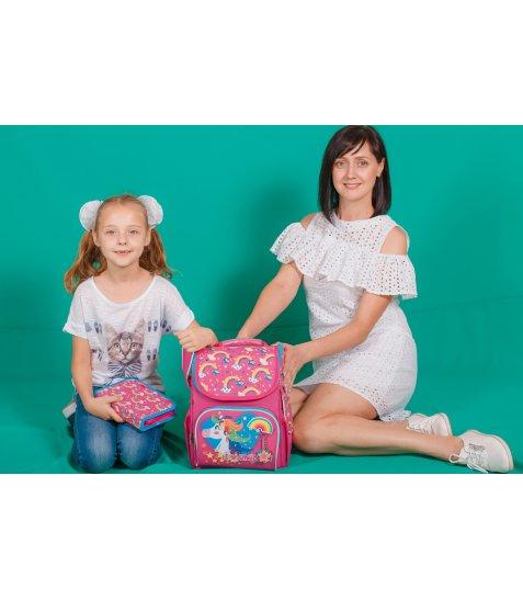 Рюкзак шкільний каркасний  YES  H-11 Unicorn blue, 33.5*26*13.5