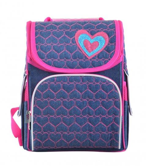 Рюкзак шкільний каркасний  YES  H-11 Hearts blue, 33.5*26*13.5