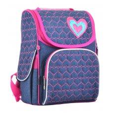 Hardframe backpack  H-11 Hearts blue, 33.5*26*13.5