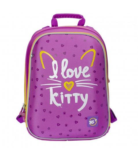 """Рюкзак шкільний каркасний YES H -12  """"I love kitty"""""""