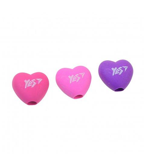 """Ластик-насадка на олівець YES """"Heart"""" 3 кол./уп."""