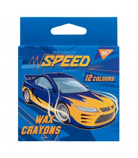 """Набір воскових олівців YES 12 шт. """"Speed Car"""", 7*90 мм"""