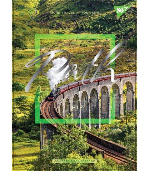 """Зошит А5 / 80 дв.спіраль, мат.лам + фольга срібло + Уф.виб """"Nature places"""" YES"""