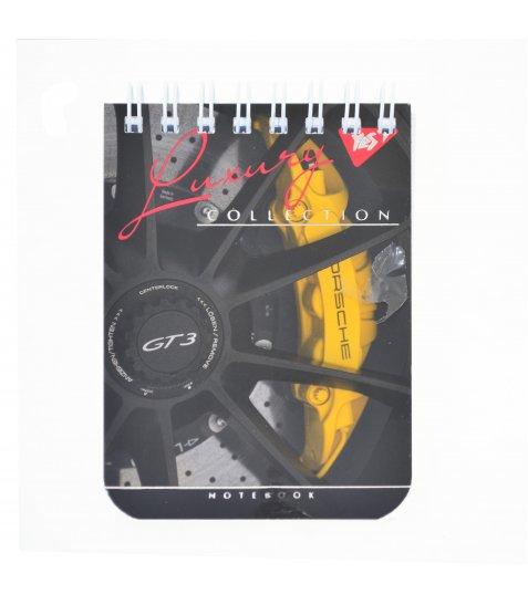"""Зошит А7 / 80 дв.спіраль, мат.лам + фольга срібло + Уф.виб """"Car wheels"""" YES"""