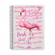 "Зошит А5 / 96 од. спіраль ""Tropico. Flamingo"" YES крафт білий"