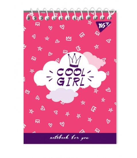 """Зошит для записів А6/80 од.спіраль """"COOL GIRL"""" YES"""
