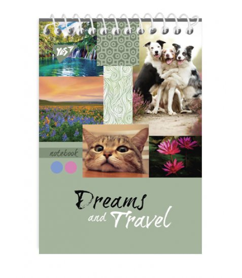 """Зошит для записів А7/80 од.спіраль """"DREAMS & TRAVEL"""" YES"""