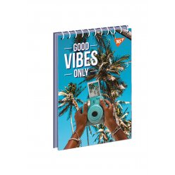 """Зошит для записів А7/80 од.спіраль """"Good vibes only"""" YES"""