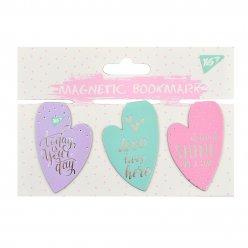 "Закладки магнітні YES ""Hearts"", фольга, 3шт"