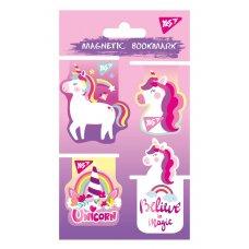 """Закладки магнітні YES """"Unicorn"""", висікання і гліттер, 4шт"""