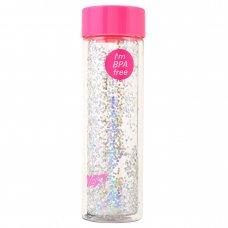 """Пляшка для води YES """"Sparkle"""", 570 мл, кришка рожевого кольору"""