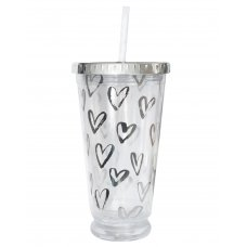 """Тамблер-стакан YES з підсвіткою """"Hearts"""", 490мл, фольга, з трубочкою"""