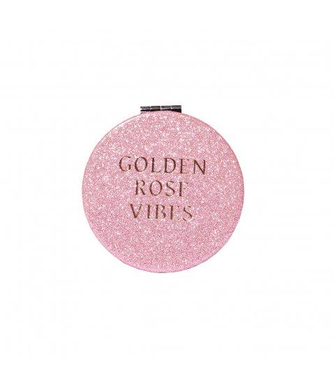 """Дзеркало YES компактне """"Rose Gold"""", кругле, 8см, глiтер"""