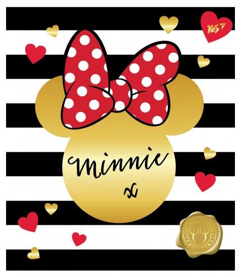 А5 / 12 кл. YES глиттер + фольга золото + софт-тач Minnie Mouse gold, зошит