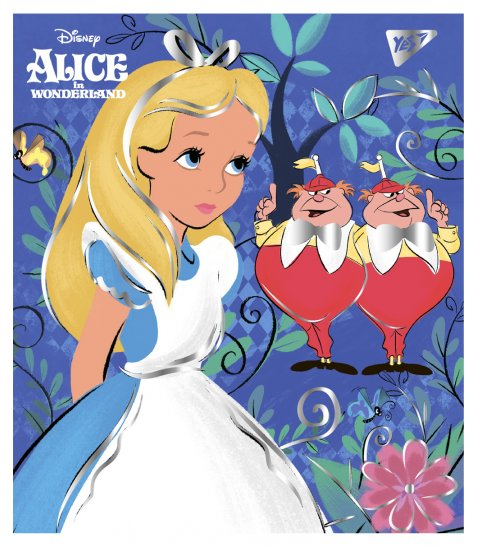 "Зошит для записів А5/48 кл. YES ""Alice in wonderland"" фольга золото+софт-тач"