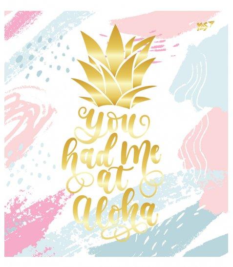 А5 / 48 кл. YES мат. ламінація + фольга золото + гліттер золото Pineapple, зошит
