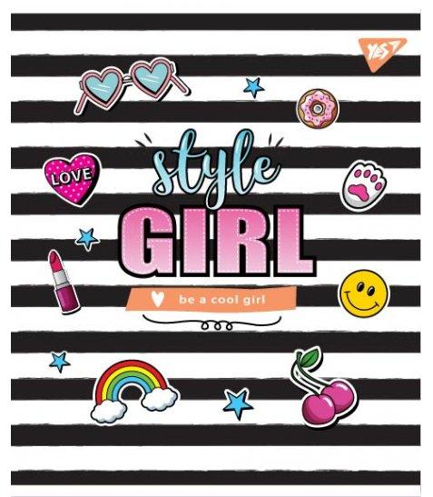"Зошит для записів А5/24 лін.  YES ""STYLE GIRL"" мат. ВДЛ+софт-тач+глітер"