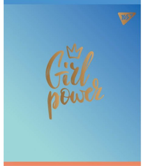 "Зошит для записів А5/48 кл.  YES ""GIRL POWER"" мат. ВДЛ+софт-тач+фольга золото"