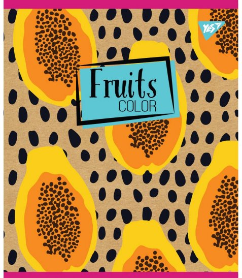 "Тетрадь для записей А5/12 кл. YES ""Fruits color"" крафт, белила"