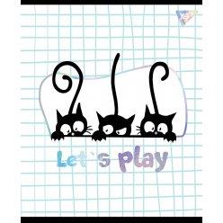 """Зошит для записів А5/24 кл. YES """"Playful kitties"""" софт-тач+фольга срібло голограф."""
