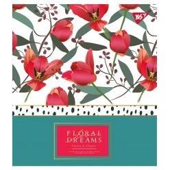 """Зошит для записів А5/48 кл. YES """"Floral dreams"""" фольга золото+софт-тач+УФ-виб."""