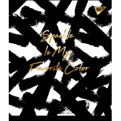 "Зошит для записів А5/96 кл. YES ""Black abstract"" софт-тач+фольга золото"