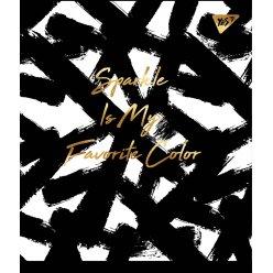 """Зошит для записів А5/96 лін. YES """"Black abstract"""" софт-тач+фольга золото"""