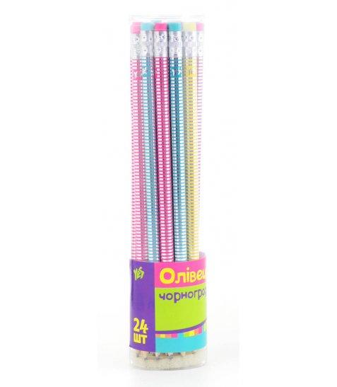 Олівець ч / гр круглий з пласт. і фольгою в пл. тубі, 24шт / уп