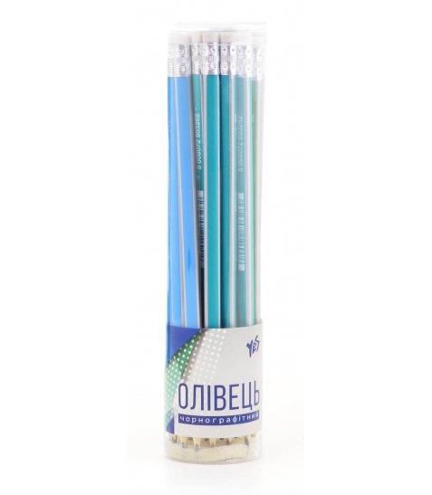 Олівець ч / гр трикутний з ласт. в пл. тубі, 24 шт / уп