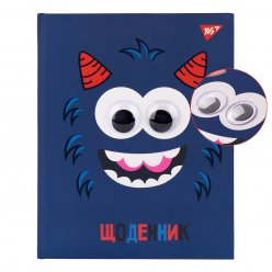 """Щоденник шкільний YES жорсткий """"Monster"""" софт-тач, УФ лак, об'ємні очі"""