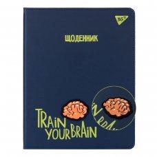 """Щоденник шкільний YES PU жорсткий """"Brainstorm"""" блінтове тиснення, об'ємній бейдж"""