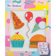 "Set of stickers ""Patch stiker"" burger, cake"