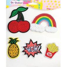 "Set of thermo-stickers ""Fashion peep"" rainbow, cherry"