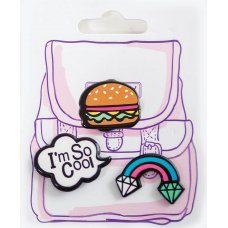 """Set of badges """"Must have"""" rainbow, burger"""
